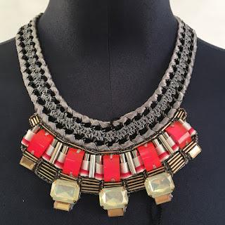 Karen Millen NEW Knit Pink Stone Necklace