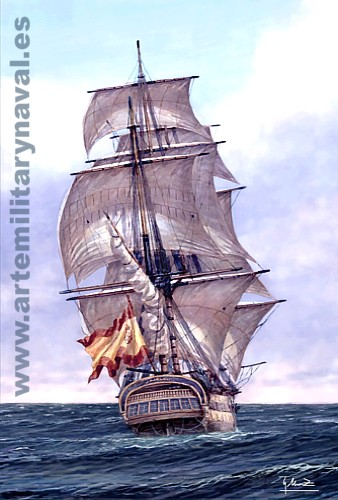 Pintura del Navío de la Armada San Genaro