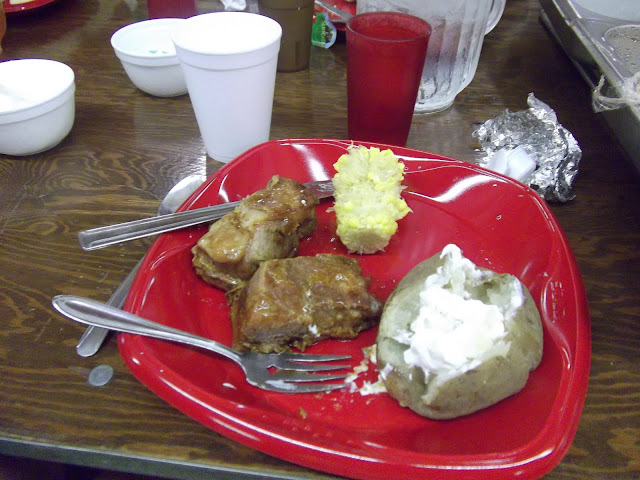 Ribs, Corn and baked potato