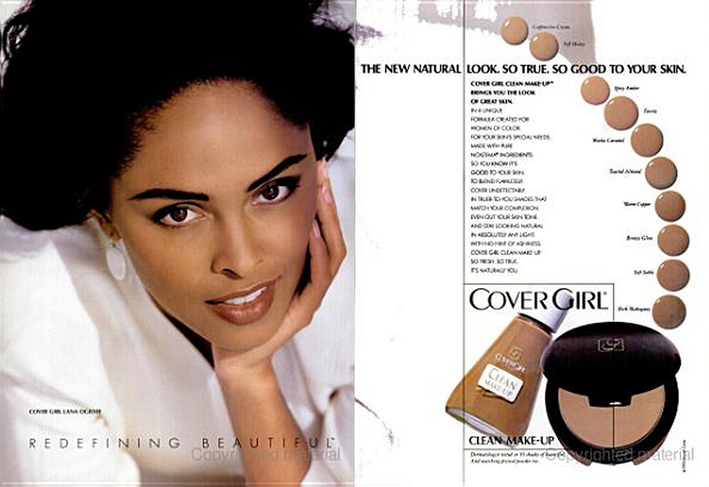 Lana Ogilvie 1992 CoverGirl modelo negra firmar marca maquillaje