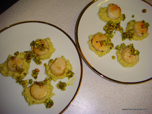 glazed scallops with apple and pistachio