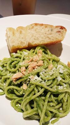 Nel Centro Spaghetti with Kale Pesto, Almonds and Pecorino