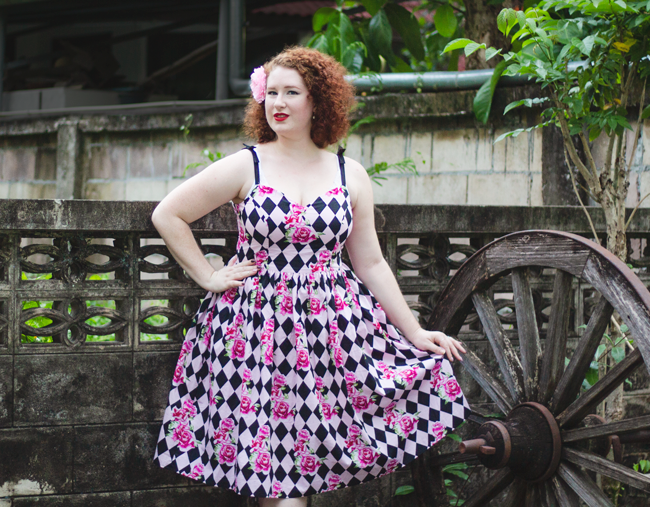 Rose and harlequin print perfection from Hell Bunny | Lavender & Twill