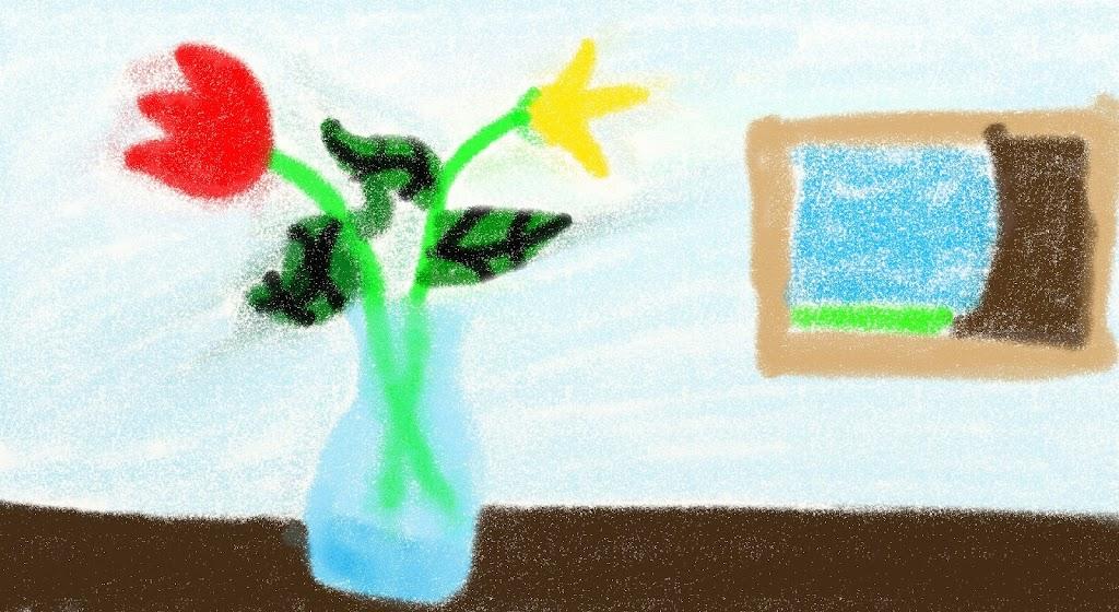 crayon flower vase