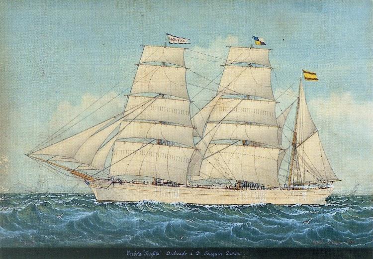 Barca JOSEFITA. Capt. Estanislao Arnau. Cuarela de Pineda. Del libro La Marina Mercant de Lloret de Mar. Segles XVIII i XIX.jpg