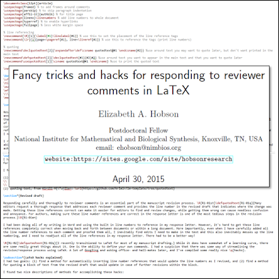 April 2015: I wrote up a guide to manuscript revision hacks to automate some of the annoying parts of writing a response to reviewers letter to the editor (automated line referencing and updatable block quoting in LaTeX)