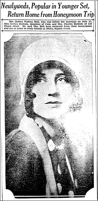 HALL_Robert W Sr_article from SD Union about he and Evelyn BULLOCK returning from their honeymoon_23 Jul 1929_cropped