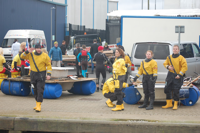 New Poole lifeboat crew members and wives prepare to take part in the Bath Tub Race - 1st January 2016.  Photo credit: Dave Riley