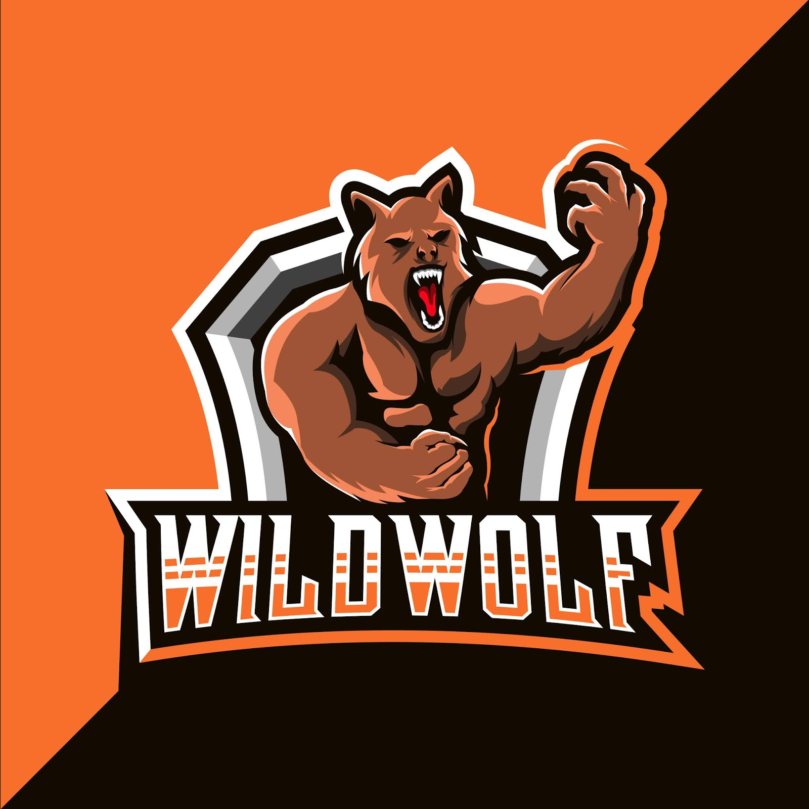 Wild Wolf Mascot Esport Logo Design Free Download Vector CDR, AI, EPS and PNG Formats