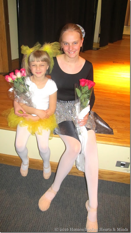 Girls' ballet recital at Homeschooling Hearts & Minds