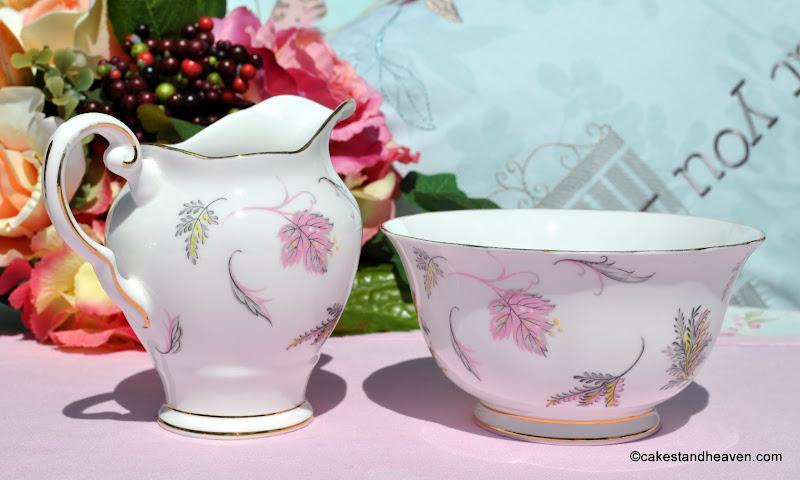 Vintage Tuscan pink and yellow fine bone china milk & sugar set