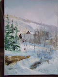 widok z okna, olej, płótno, 30x40 cm