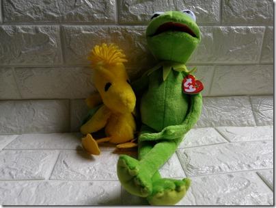 Kermit ty plush and Woodstock