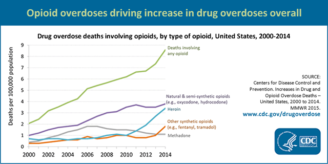 Drug overdose deaths involving opioids in the U.S., by type of opioid, 2000-2014. Graphic: CDC