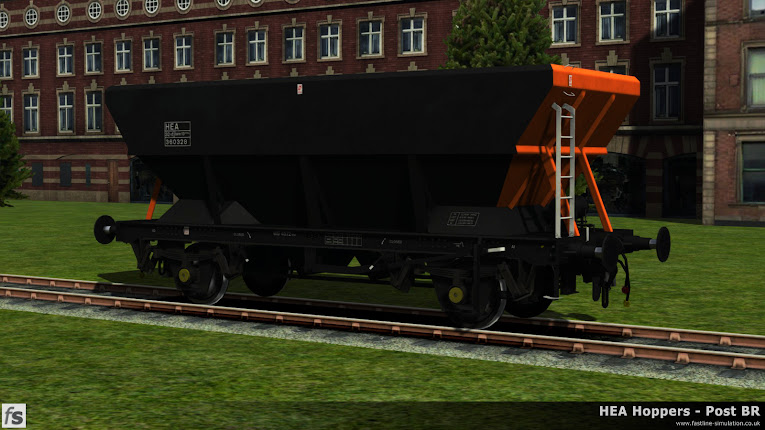 HEA Hoppers - Post BR: One of the later offset ladder HEA hoppers in almost ex-works Loadhaul livery under development for Train Simulator 2014.