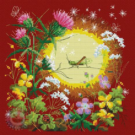schema punto croce -prato estivo con fiori e insetti
