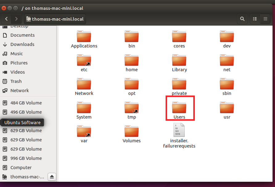 Nautilus file manager showing all folders in root of Mac