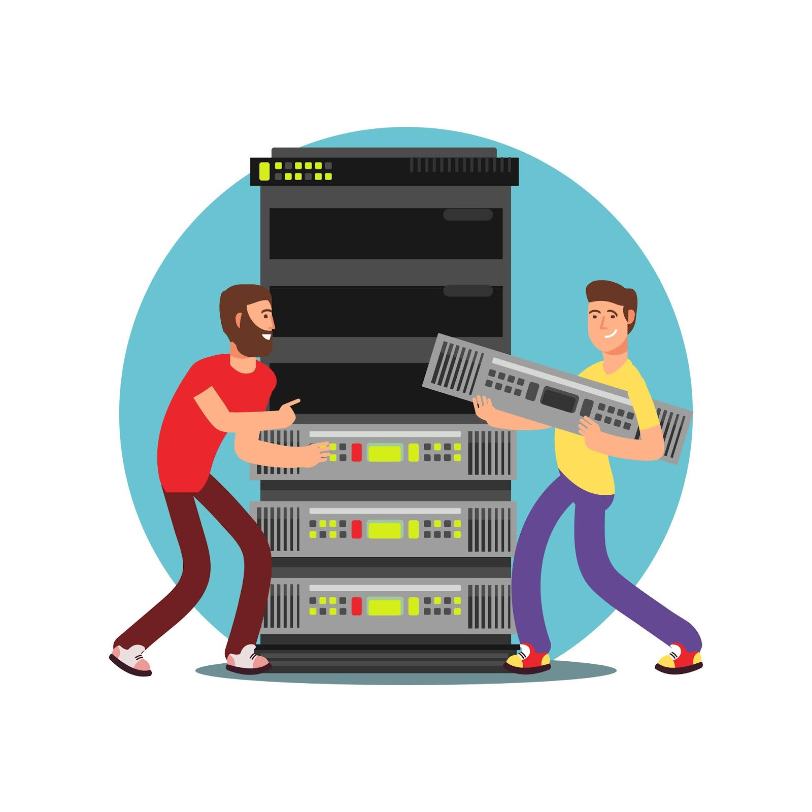 Two Male Server Administrators Working With Data Base It Flat Vector Illustration Free Download Vector CDR, AI, EPS and PNG Formats