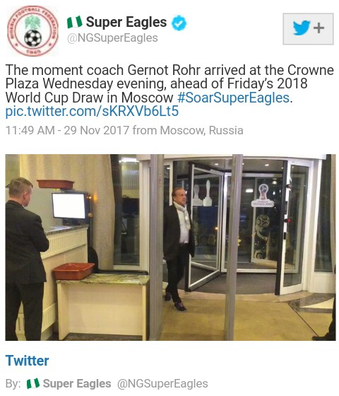 Russia 2018: Super Eagles Coach Gernot Rohr Arrives Moscow ...