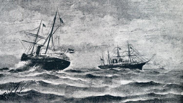 El PURISIMA CONCEPCION, al mando del Capitán Cueto, fuerza el bloqueo de las costas cubanas. Óleo de Duomarco. De libro Capitanes de Cantabria.JPG