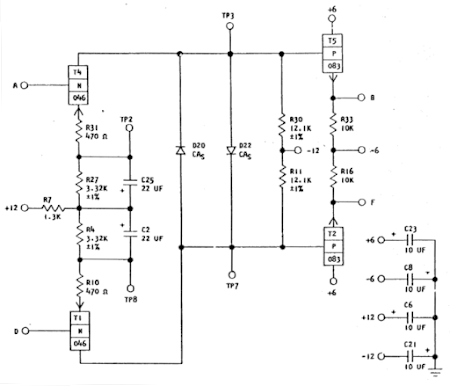 Schematic of the WW amplifier board from the SMS documentation.