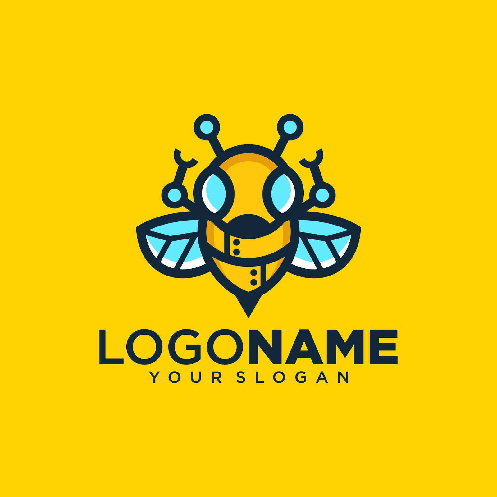 Creative Bee Robot Logo.jpg Free Download Vector CDR, AI, EPS and PNG Formats
