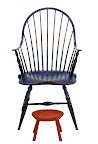 soldier blue over barn red  stool is barn red