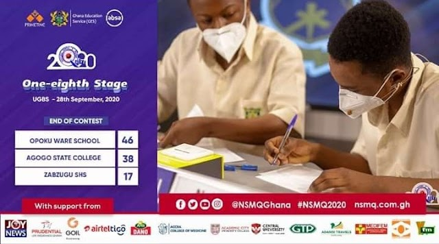 National Science & Maths Quiz Updates as -(Opoku Ware crown the winner of 1/8 Round Contest).