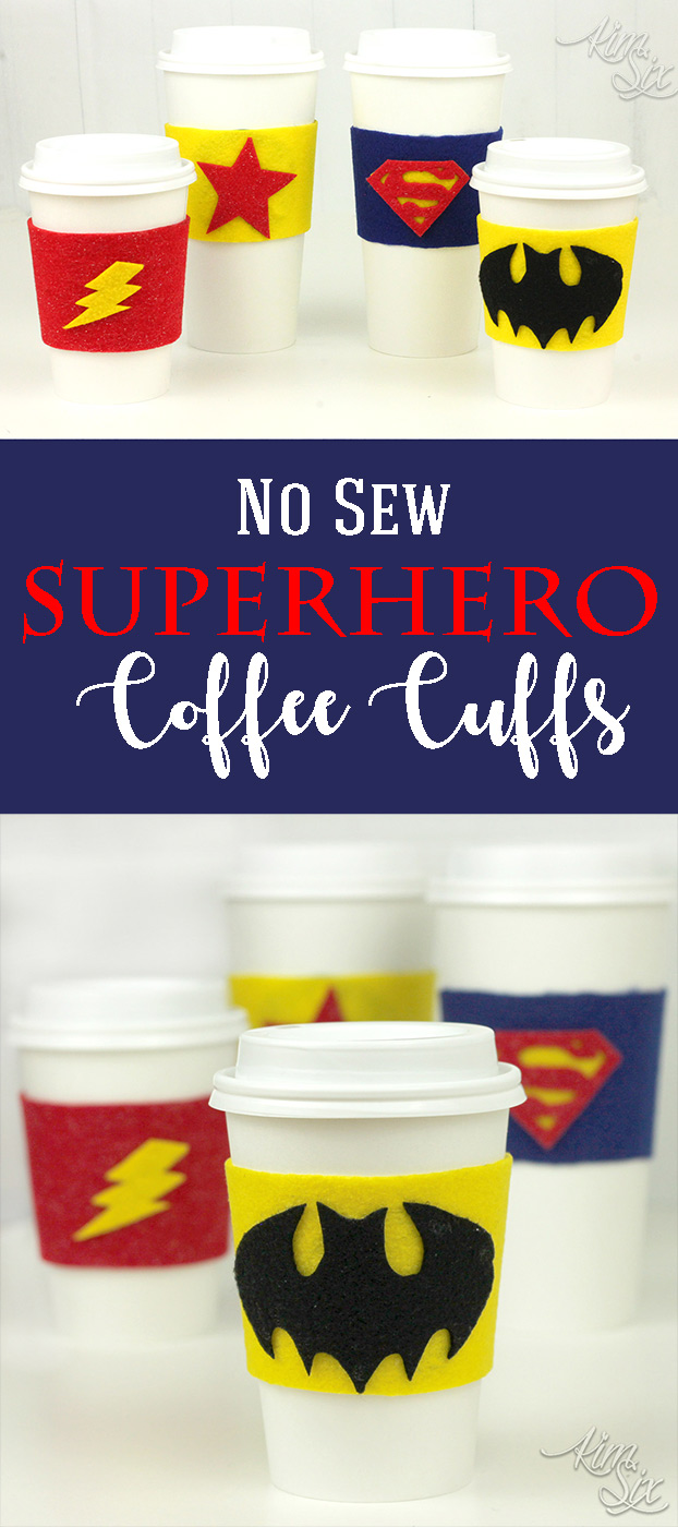 A kid friendly craft idea that doesn't require a sewing machine. Your favorite heroes including batman, superman, wonder woman, and the flash.  Felt and glue is all it takes.  Plus she includes free templates for the logos.  SO EASY!  A great gift idea to make with kids.  No Sew Felt Superhero Cup Cuffs via TheKimSixFix.com