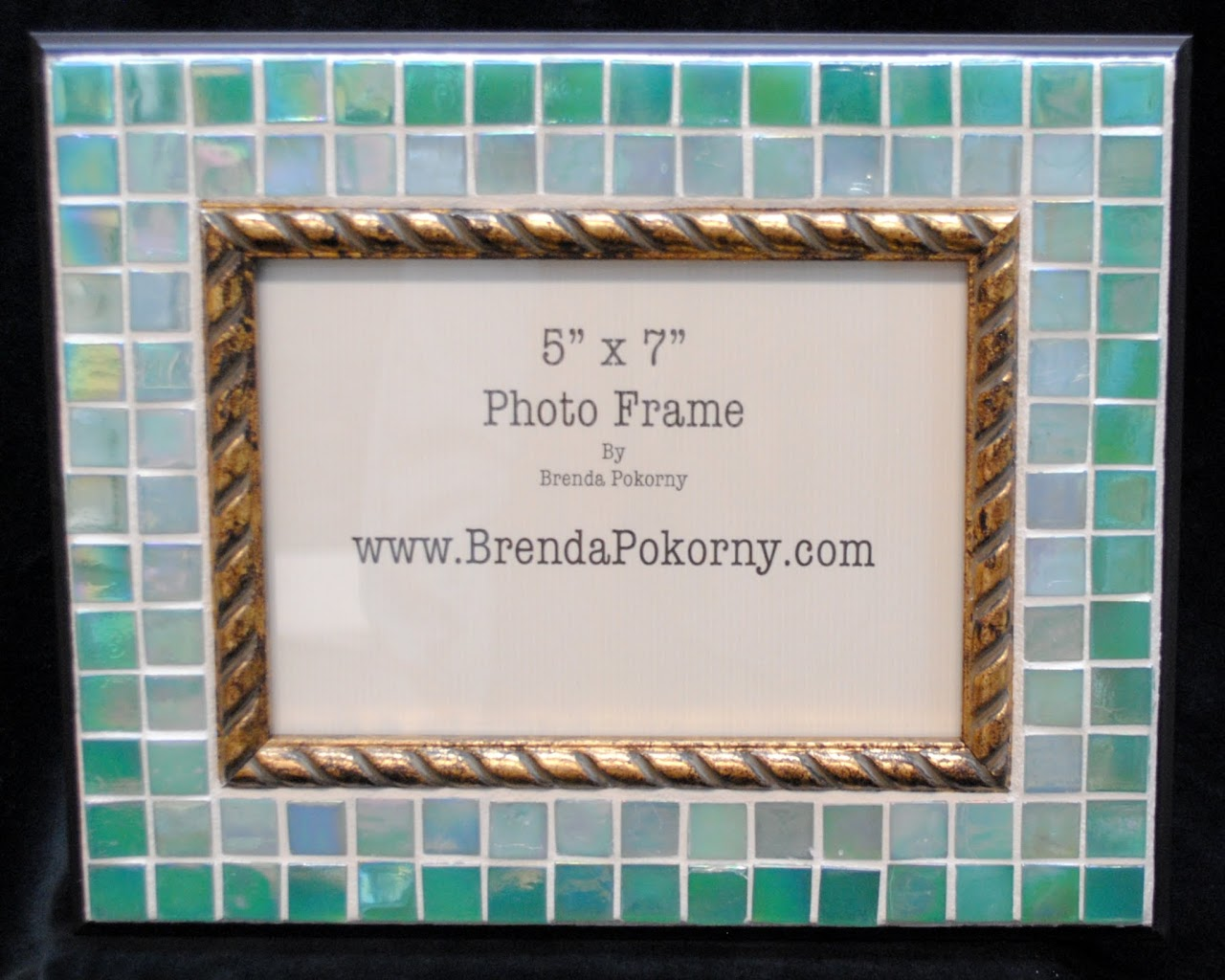 "Two Shades of Seafoam 5"" x 7"" Mosaic Photo Frame MOF1434"