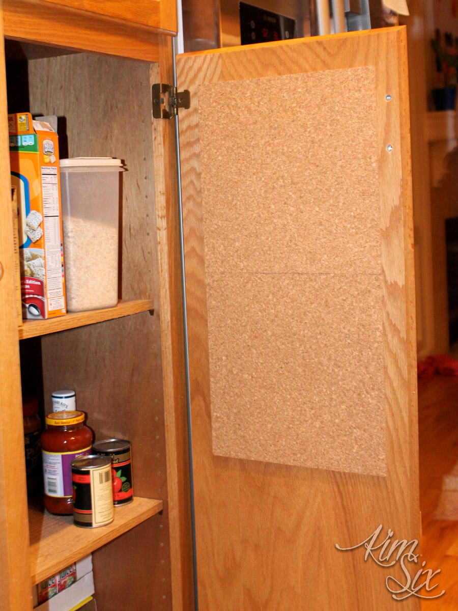 Organizing Cabinets with Corkboards.. no more countertop clutter