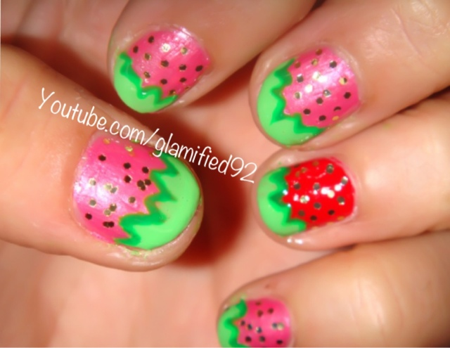 Glamified92 Easy Cute Strawberry Nail Art Tutorial For Short