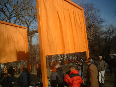 Christo and Jeanne-Claude under a gate near 110th st.