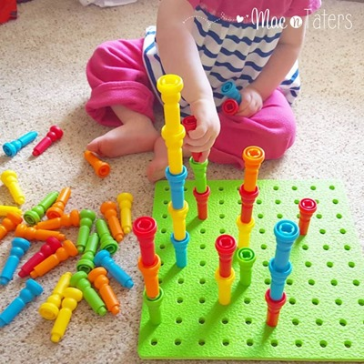 These Lauri Peg & Peg Stacker toys are perfect for so many skills including colors, patterns, size comparison, quantities and more.