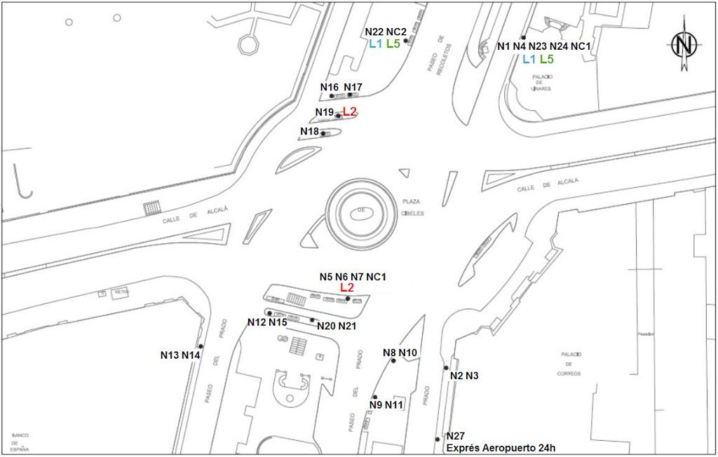 Localización de cabeceras de los autobuses nocturnos o búhos en ...