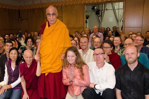 His Holiness the Dalai Lama with Maitripa College students, board members and friends, including Ven. Thubten Chodron (left of His Holiness), Maitripa College, Portland, Oregon, U.S. May 10, 2013. Photo by Marc Sakamoto.