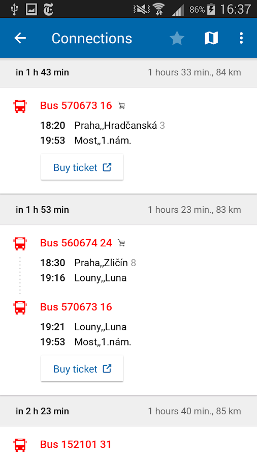 Czech Public Transport IDOS- screenshot