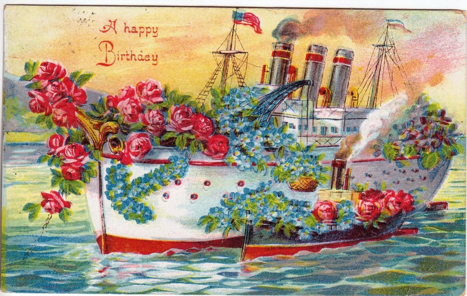 maximum embellishment vintage birthday card  ship, Birthday card