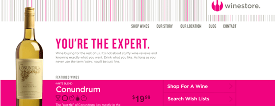 Header of a wine website that says you're the expert