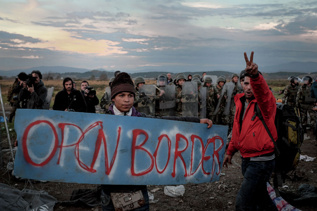 In November 2015, refugees and migrants protest border restrictions near the Greek town of Idomeni, close to the border with the former Yugoslav Republic of Macedonia. Photo: Ashley Gilbertson VII / UNICEF