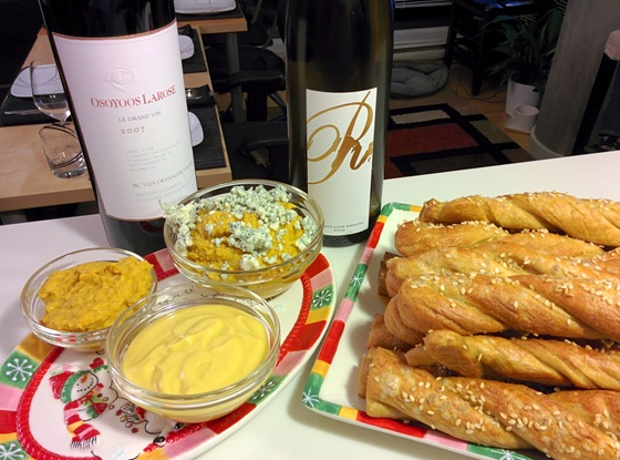 Osoyoos Larose 2007 Le Grand Vin & Mission Hill 2009 Martin's Lane Riesling with Pretzel Sticks & Golden Beet Dip