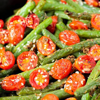 Roasted Garlic Sesame Seed Green Beans and Tomatoes.