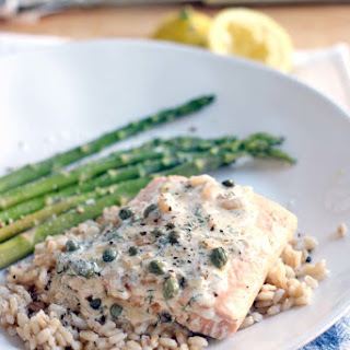 Garlic Poached Salmon with Creamy Lemon Caper Sauce.