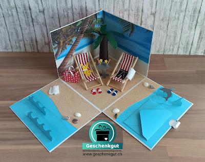Geschenkbox Explosionsbox Überraschungsbox Strand Ferien Reise Geldgeschenk Gutschein