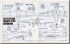 Douglas A2D Skyshark 3-View Drawing 1