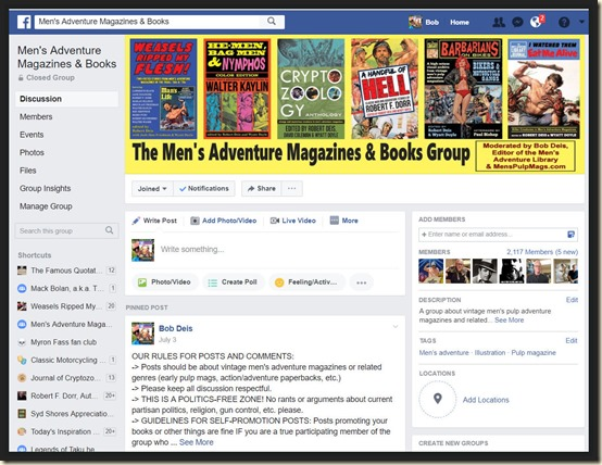 Men's Adventure Magazines Facebook Group