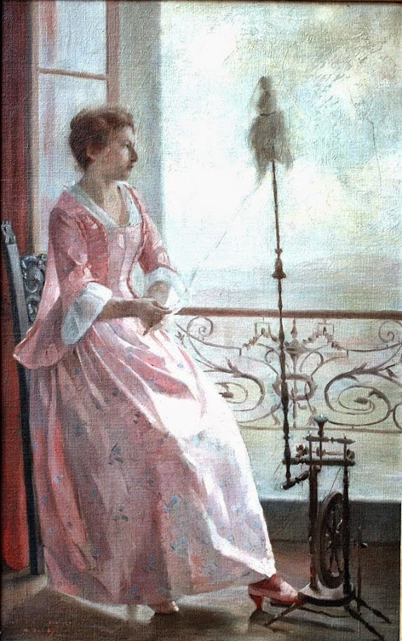 René Schützenberger - Young Woman Spinning Yarn by the Window