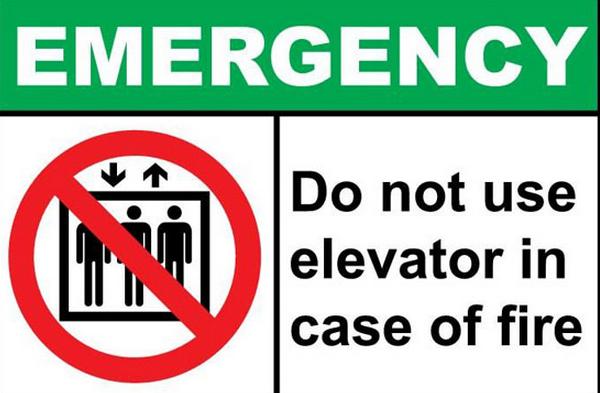 Không sử dụng thang máy khi có hỏa hoạn thang máy mistubisi
