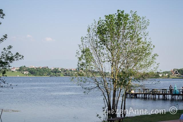 Sakarya Poyrazlar Gölü'ndeki lunapark ve resim çektirenler