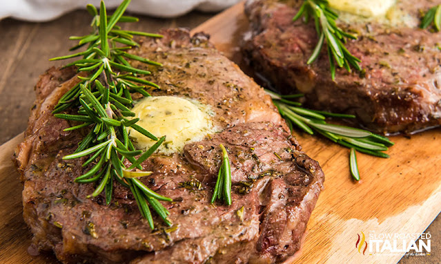 Air Fryer Steak Recipe with butter and rosemary on top